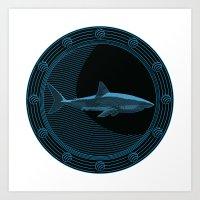Engraved Shark Art Print