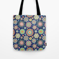 Folky Flora-blue Tote Bag
