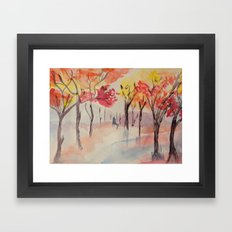 Autumn Trees Watercolour Framed Art Print