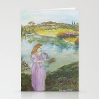 Girl Setting a Bird Free Stationery Cards