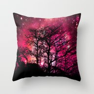 Black Trees Coral Pink S… Throw Pillow