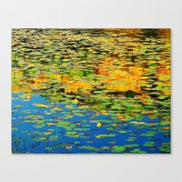 Lilly Pond In The Style … Canvas Print