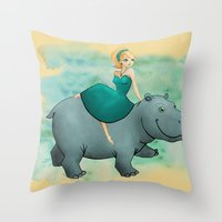 Lovely Hippo Throw Pillow