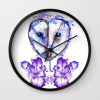 Owl and Irises Wall Clock