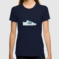 #56 Adidas Superstar Womens Fitted Tee Navy SMALL