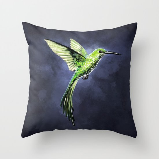 Green Hummingbird Throw Pillow