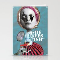 she loves the fishes Stationery Cards
