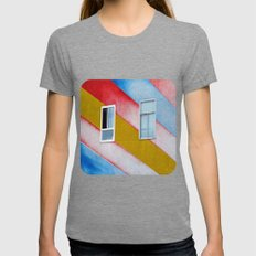 Stripes and Windows  Womens Fitted Tee Tri-Grey SMALL