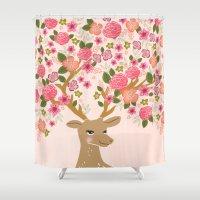 Love Deer Valentines day floral flower antlers Andrea Lauren  Shower Curtain