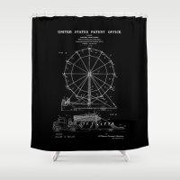 Ferris Wheel Patent - Black Shower Curtain