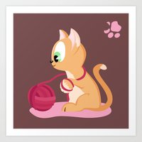 Kitten number 3 of 3 copper cats Art Print