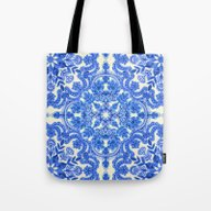 Cobalt Blue & China Whit… Tote Bag