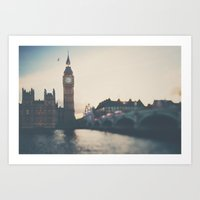sunset over the city ... Art Print
