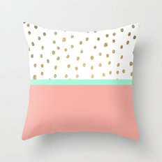 Coral Teal Color Block F… Throw Pillow
