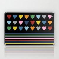 Heart Stripes Black Laptop & iPad Skin