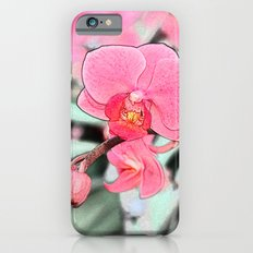 Lovely pink orchid flower color pencil sketch. floral photo art. iPhone 6s Slim Case