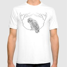Owl In Tree (Print) White SMALL Mens Fitted Tee