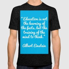 Einstein education quote Mens Fitted Tee Tri-Black SMALL