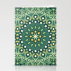 Green Boho Floral Pattern Stationery Cards