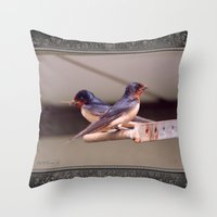 Barn Swallows With Nest Materials Throw Pillow