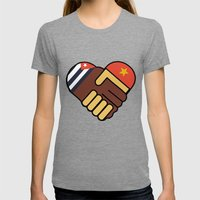Hands Of Friendship Womens Fitted Tee Tri-Grey SMALL