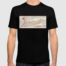 1842 Mather Map of Long Island, New York Mens Fitted Tee Black SMALL