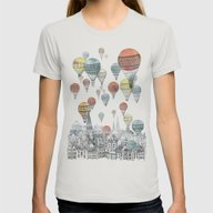Voyages Over Edinburgh Womens Fitted Tee Silver MEDIUM