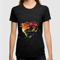 Audrey splash Womens Fitted Tee Tri-Black SMALL