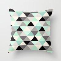 Triangle Geometric Pattern_Mint Green Throw Pillow