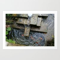 Fountain and Koi Art Print