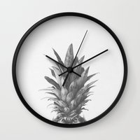 Grey Pineapple Top Wall Clock