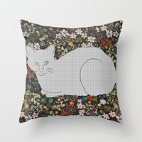 Gray Cat on Floral  Throw Pillow