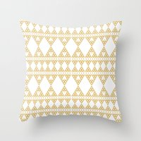 Golden Lace Throw Pillow
