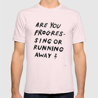 GOOD QUESTION Mens Fitted Tee Light Pink SMALL