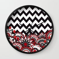 Floral Chevron. Wall Clock