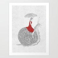 Girl And Snail  Art Print