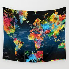 World Map Black Background 2 Wall Tapestry