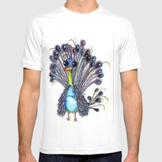 Peacock  White Mens Fitted Tee SMALL