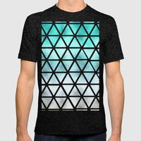 Teal blue ombre geometric triangles pattern  Mens Fitted Tee Tri-Black SMALL