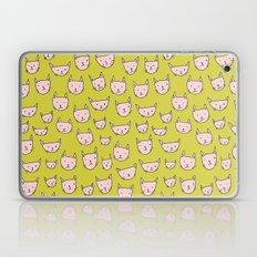 Pink Cats on Green Laptop & iPad Skin