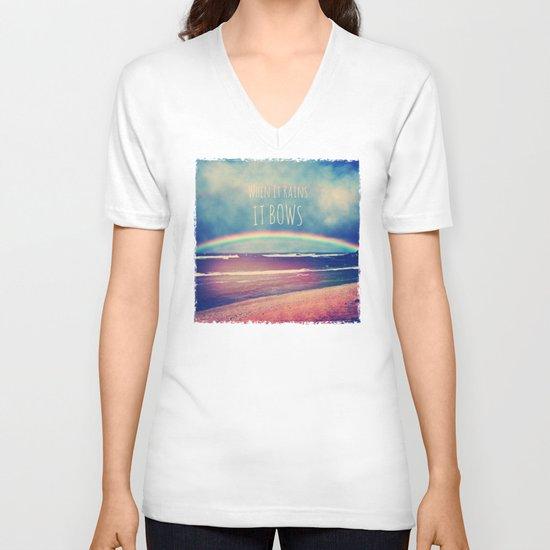 When It Rains, It Bows V-neck T-shirt