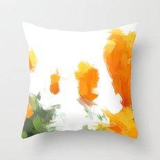 BLOSSOMS - ORANGE GREEN Throw Pillow