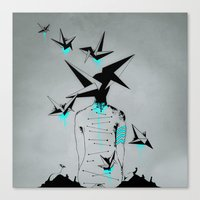 Origami's dream - A collaboration between Christelle Guilhen and Gwenola de Muralt - Canvas Print