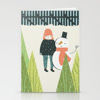 Girl And Snowman Stationery Cards