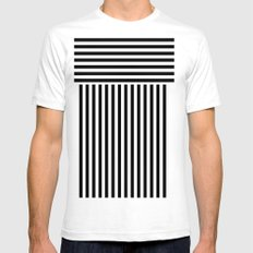 stripes Mens Fitted Tee SMALL White