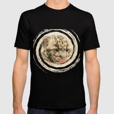 CUTE CLOUDED LEOPARD CUB SMALL Mens Fitted Tee Black