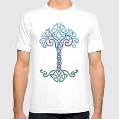 Woven Tree of Life - Cool Mens Fitted Tee White SMALL