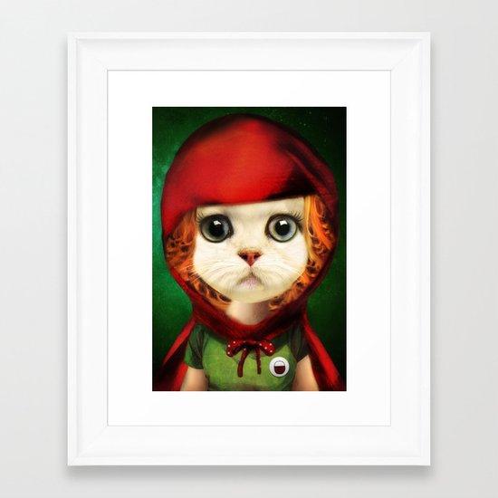 Kitten red riding  Framed Art Print
