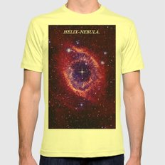 HELIX NEBULA. Mens Fitted Tee Lemon SMALL