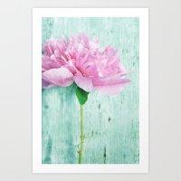 Pink & Mint Art Print
